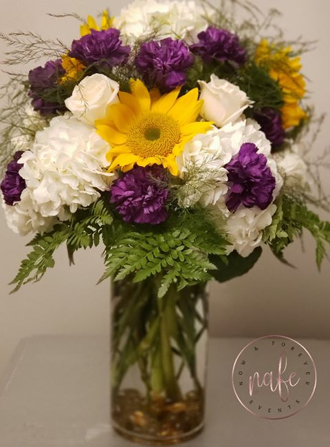 """Purple, Gold, and White Arragement  the perfect way to say """"Just Because"""" or """"I love you"""""""