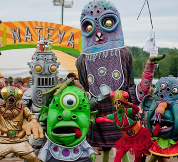BIG NAZO -  is an international performance group of visual artists, puppet performers, and masked musicians who unite to create bizarre and hilarious larger-than-life sized characters, environments, and spectacles. ​ Pay What You Can Admission Suggested $5.00 at the door  Theatre 82 & Character's Café | 82 Rolfe Square