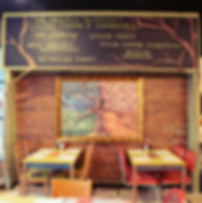 Chalkboard of the Local farms supported by characters cafe and Theatre 82 Rolfe Sq, Cranston, RI.