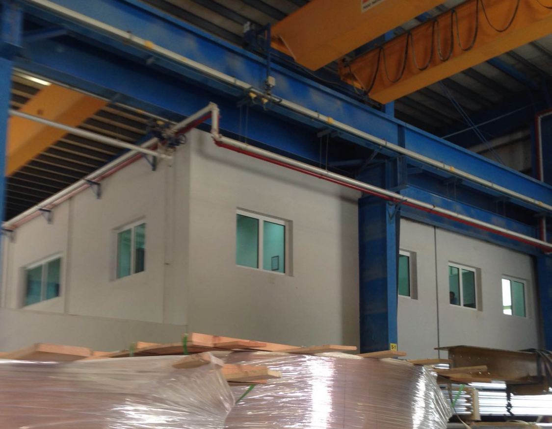 Fire resistant offices in warehouse