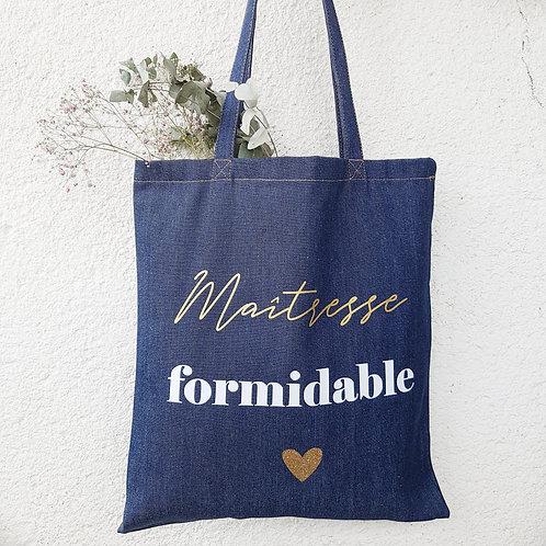 "Tote Bag en jean's spécial ""maîtresse formidable"""