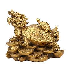 Tartaruga con drago e piccola tartaruga.