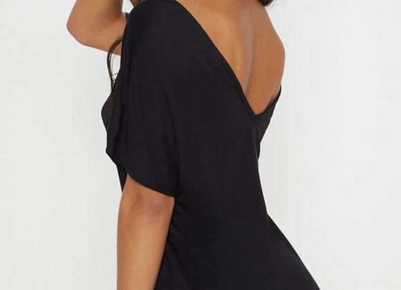 V Neck Black Tanning T-shirt Dress