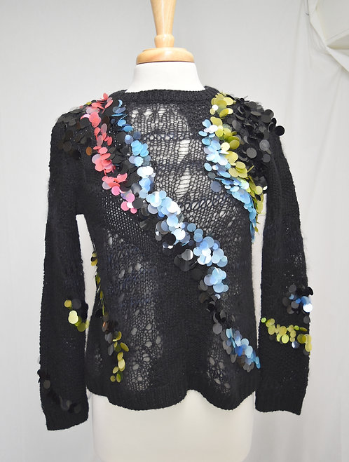Versace Black Sequined Sweater Size Small