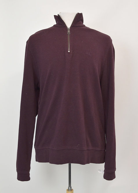 Burberry Burgundy Quarter-Zip Sweater Size XXL