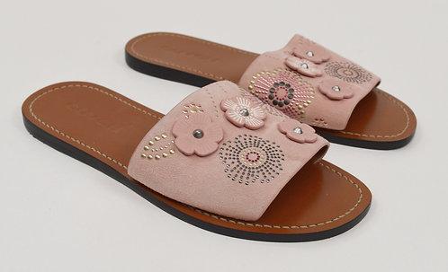 Coach Pink Suede Slider Sandals Size 8
