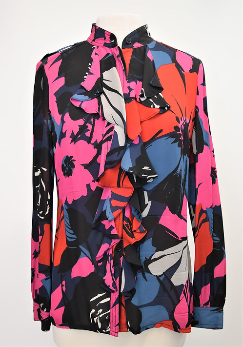 Tory Burch Navy Floral Silk Blouse Size 8
