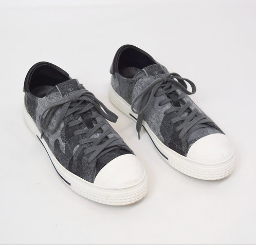 Valentino Gray Felted Low-Top Sneakers Size 7