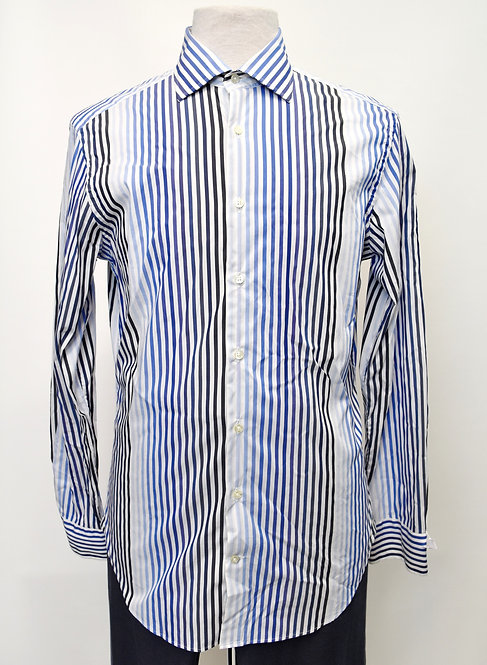 Etro White & Blue Stripe Shirt Size Medium