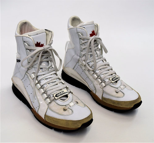 DSquared2 Kick It! White Leather High Top Sneakers Size 9