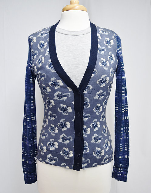 Tory Burch Blue Print Cardigan Size Small