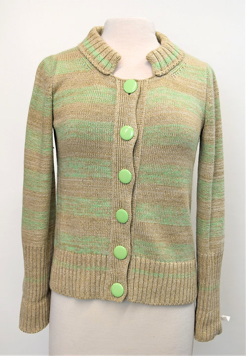 Marc Jacobs Green & Beige Stripe Knit Sweater Size Small