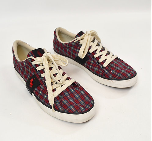 Polo Ralph Lauren Red Plaid Sneakers Size 11