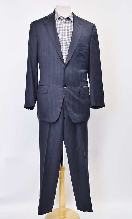 Isaia Navy Pin-Stripe Suit Size 42R