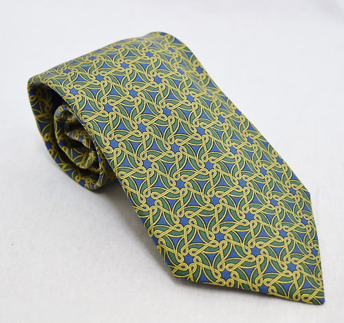 Hermes Green Print Silk Tie