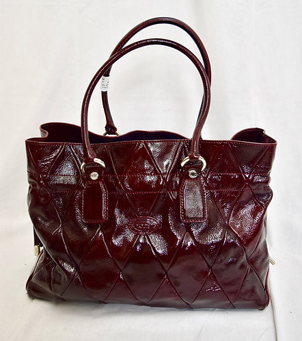 Tod's Maroon Quilted Patent Leather Tote