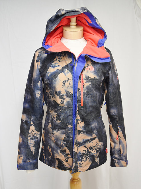 The North Face Blue & Beige Print Coat Size XS