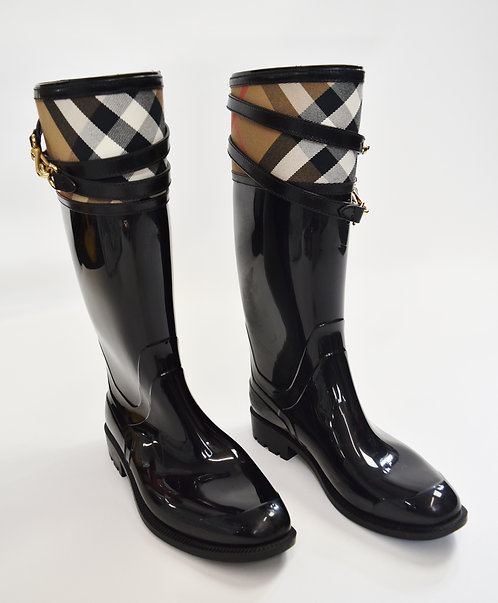 Burberry Black Rubber Boots Size 9.5/10