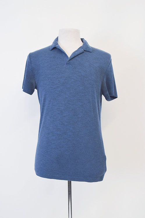 Theory Blue Knit Polo Size Small