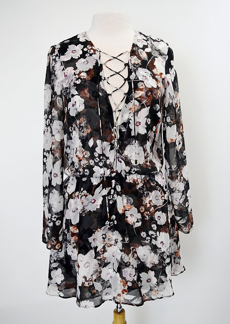 Intermix Gray Floral Chiffon Dress Size Small