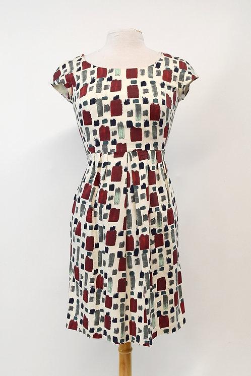Max Mara Ivory & Red Print Dress Size Small (6)