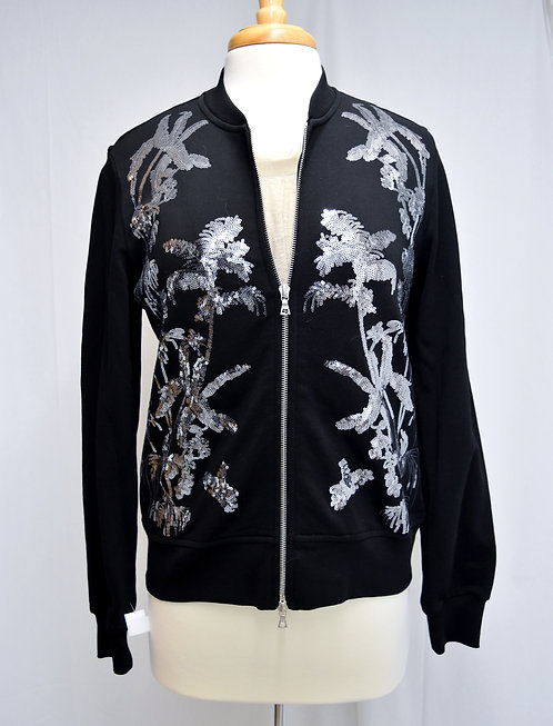 Dries Van Noten Black & Silver Sequin Zip-Up Size Medium