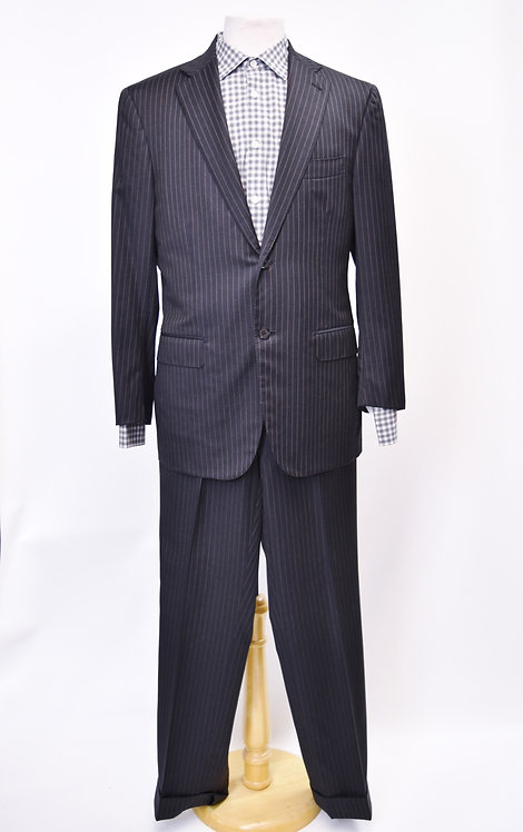 Isaia Black & Gold PinStripe Suit Size 40R