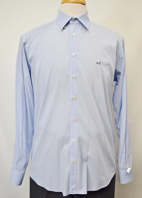 Etro Blue Stripe Dress Shirt Size Medium