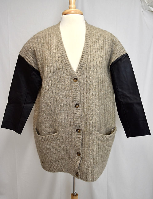 COS Tan Knit & Leather Trim Cardigan Size Small
