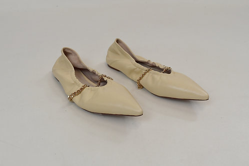 Porte & Paire Ivory Leather Flats Size 6