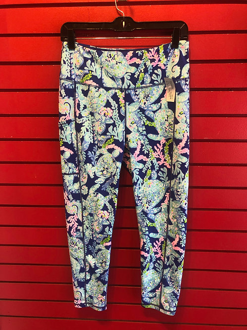 Lilly Pulitzer Blue Print Leggings Size Large