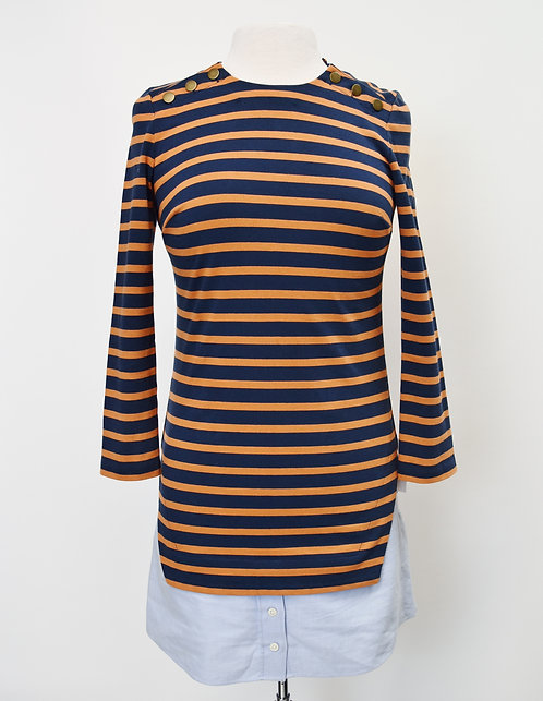 Veronica Beard Navy & Orange Stripe Dress Size XS