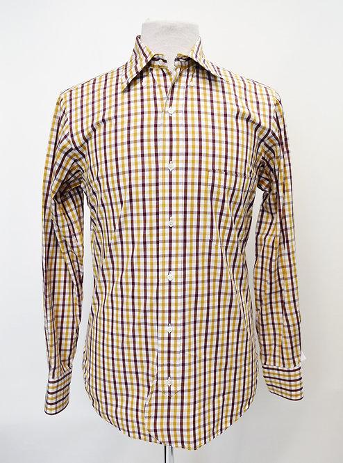 Brooks Brothers Black Fleece Maroon & Mustard Check Shirt Size Medium