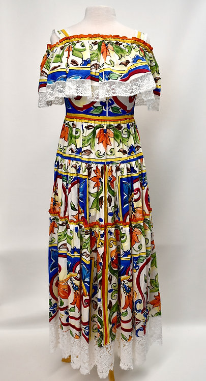 Dolce & Gabbana Lace Trim Mosaic Dress Size Small