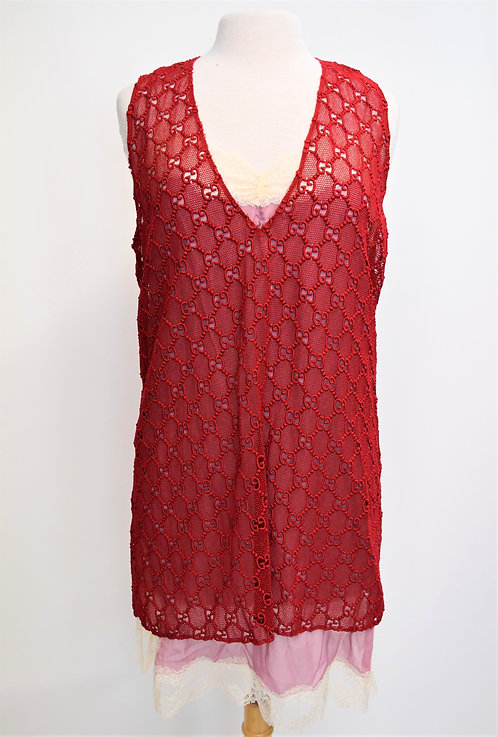 Gucci Red GG Macrame Top & Cami Size M/Large