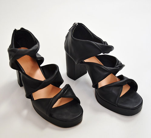 Samantha Pleet Leather Strappy Heels Size 8