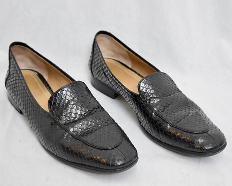 The Row Black Textured Leather Flats Size 10