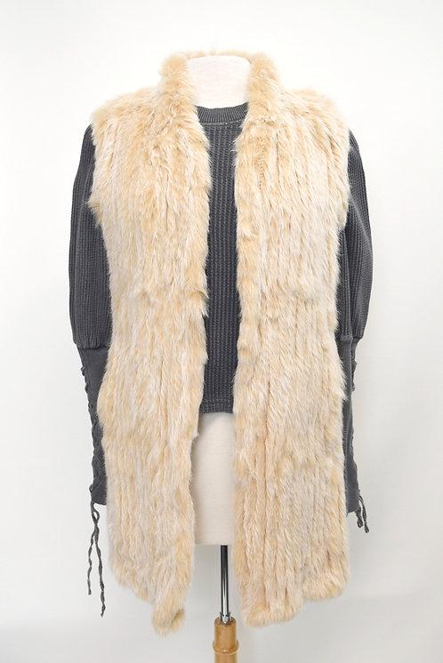 Love Token Tan Rabbit Fur Long Vest Size Small