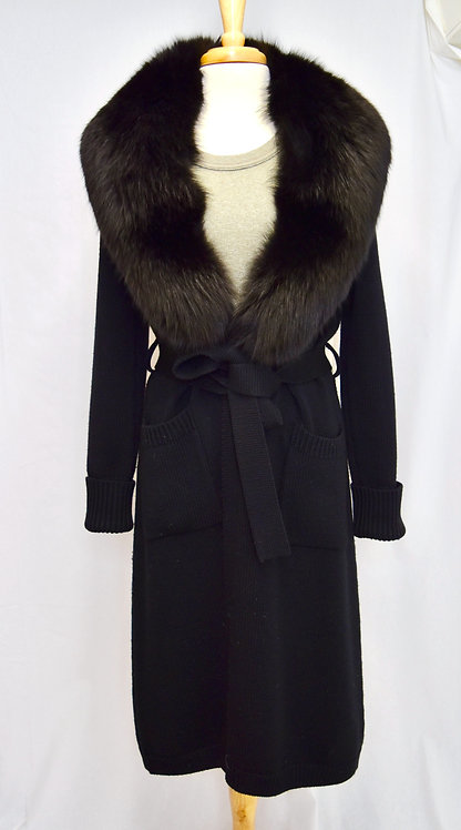 Cassin Long Black Fur Trimmed Cardigan Size Medium