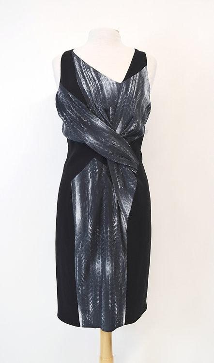 Helmut Lang Black & Gray Print Dress Size Large (12)
