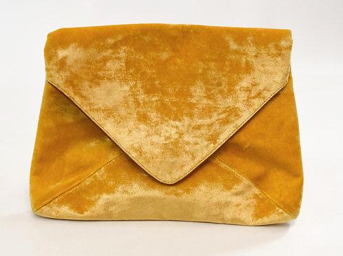 Dries Van Noten Yellow Velvet Clutch