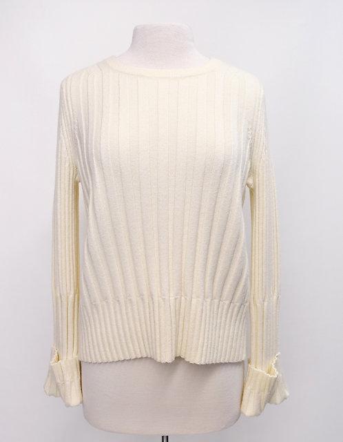White + Warren Cream Knit Sweater Size Medium