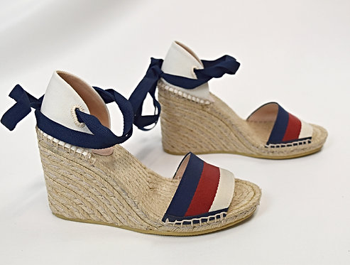 Gucci Navy & Red Stripe Espadrille Wedges Size 6