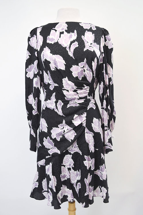 Rebecca Taylor Black & Purple Print Dress Size 12