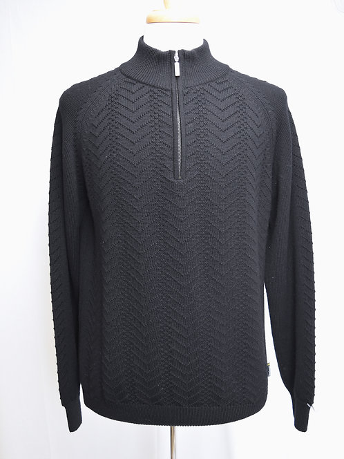 Barbour Black Wool Quarter-Zip Sweater Size Large