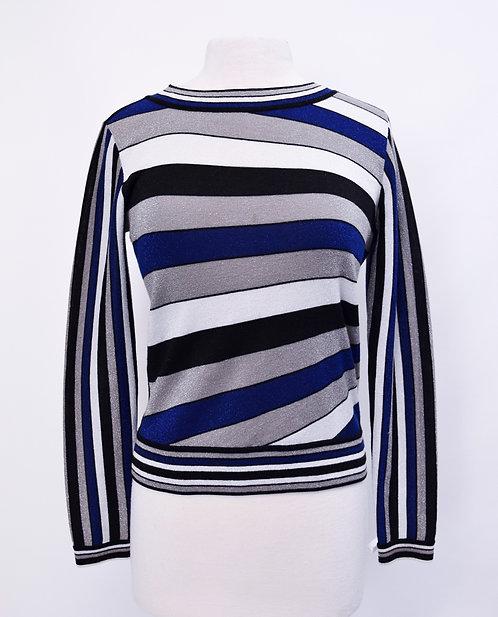 Diane Von Furstenberg Blue Metallic Stripe Sweater Size Small