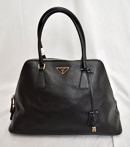 Prada Black Leather Saffiano Sport Satchel
