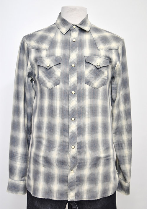 AllSaints Gray Plaid Flannel Size Small