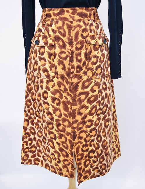 Kate Spade Orange Cheetah Print Skirt Size 10