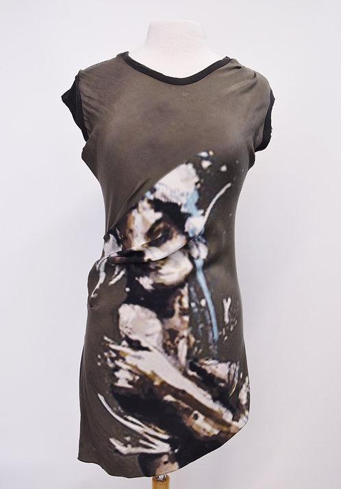 Lia Kess Gray Graphic Dress Size Medium